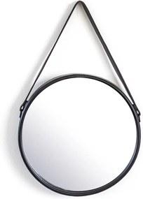 Oglinda rotunda cu rama din fier neagra Flection, 40 x 6 x 40 cm