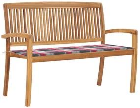 3063292 vidaXL Bancă de grădină stivuibilă cu pernă, 128,5 cm, lemn masiv tec