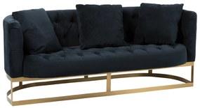 Canapea 2 locuri cu 2 perne Buttons, Textil Lemn, Negru Auriu, 180x76x74 cm
