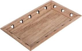 Tavă din lemn Inimioare, 33 x 19 x 3,5 cm, maro