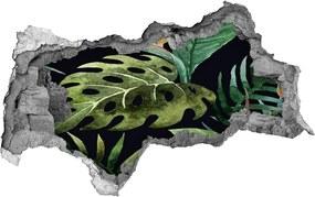 Autocolant 3D gaura cu priveliște Flori tropicale