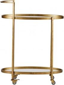 Masuta/Carucior pentru servire din metal, 86x67x35 cm, antique brass