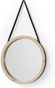 Oglinda rotunda din lemn mango si piele 40 cm Gyda La Forma