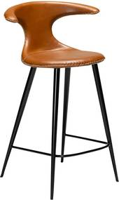 Scaun bar din piele ecologică DAN–FORM Denmark Flair, maro coniac, înălțime 90 cm