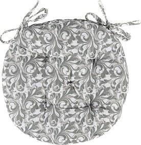 Pernă Grey Flower brodată rotundă, 40 cm