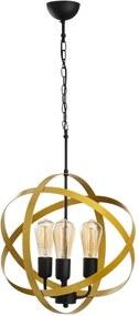 Lustră metalică cu abajur auriu Opviq lights Irina, negru