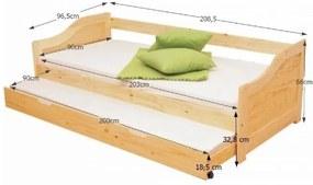 Pat cu patul suplimentar, masiv, 90x200, LAURA