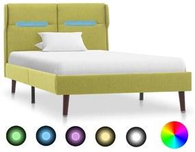 286901 vidaXL Cadru de pat cu LED-uri, verde, 90 x 200 cm, material textil