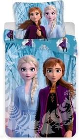 Lenjerie de pat copii Jerry Fabrics Regatul de gheață Snowflakes 2019, 140 x 200 cm, 70 x 90 cm