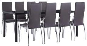 3053138 vidaXL Set mobilier de bucătărie, 9 piese, gri, piele ecologică