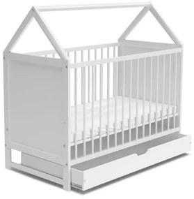 Expedo Pătuț pentru copii VIKTORKA + saltea + SD, 60x120, alb