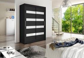 Expedo Dulap dormitor cu uşi glisante STAWEN IV, 150x200x58, negru/alb luciu