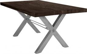Masa dreptunghiulara cu blat din lemn de stejar Tables & Benches 220 x 100 x 76 cm gri carbon/argintiu