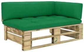 3066546 vidaXL Canapea de grădină din paleți, colțar, verde, lemn pin tratat