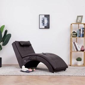 281346 vidaXL Șezlong de masaj cu pernă, maro, piele artificială