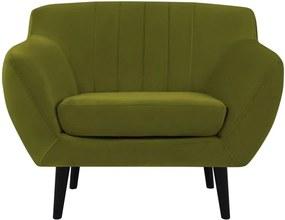 Fotoliu cu tapițerie din catifea Mazzin Sofas Toscane, verde