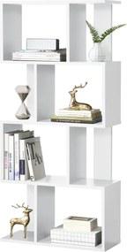 [en.casa] Raft carti AANF-6401, 130 x 60 x 24 cm, PAL melaminat, alb cu 8 compartimente depozitare