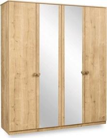 Dulap din PAL cu 4 usi si oglinda Mocha 182x210x56 cm