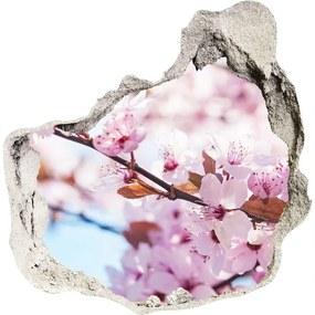 Fototapet un zid spart cu priveliște Flori de cireș