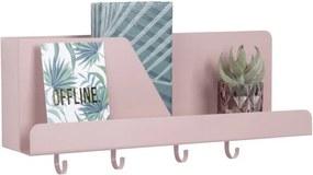 Organizator de perete cu cârlige PT LIVING Perky, roz deschis
