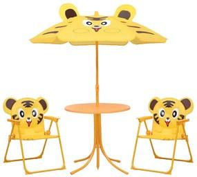 48100 vidaXL Set bistro de grădină pentru copii, cu umbrelă, 3 piese, galben