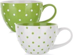 Căni din ceramică, buline verzi