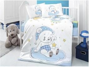 Set lenjerie cu cearșaf din bumbac pentru copii Night Bear, 100 x 150 cm