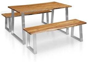 277789 vidaXL Set mobilier de bucătărie, 3 piese, maro, lemn masiv de acacia