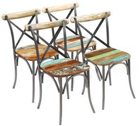 274395 vidaXL Scaune de bucătărie, 4 buc., lemn masiv reciclat