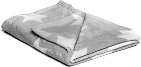 Pătură din micropluș My House Stars, 150 x 200 cm, gri-alb