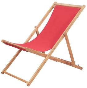 43999 vidaXL Scaun de plajă pliabil, roșu, textil și cadru din lemn