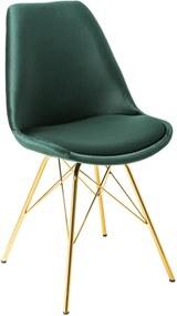 Scaun verde din catifea cu picioare metalice Scandinavia Chair Retro Dark Green Gold | INVICTA INTERIOR
