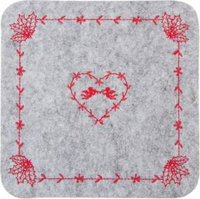Suport textil farfurii gri rosu 25x25 cm