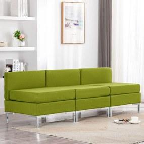 287055 vidaXL Canapele de mijloc modulare cu perne, 3 buc., verde, textil