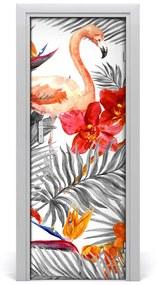 Autocolante pentru usi Flamingos și flori
