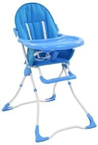 10184 vidaXL Scaun de masă înalt pentru copii, albastru și alb