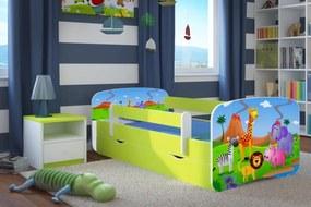 Pat pentru copii Ourbaby cu sina de siguranta-safari LOKI Safari 160x70 cm pat fără spațiu de depozitare