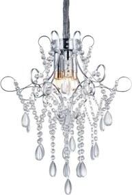 Candelabru cu cristale Annabelle, 47x40,5x40,5 cm, cristal/ metal, argintiu/ crom/ transparent
