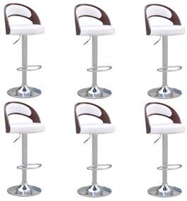 3053459 vidaXL Scaun de bar, 6 buc., cadru curbat, alb, piele ecologică