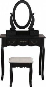 Set Otilia, Masă de toaletă pentru machiaj cu scaun, oglindă și 5 sertare, Negru