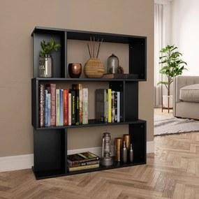 800082 vidaXL Bibliotecă/Separator cameră, negru, 80x24x96 cm, PAL