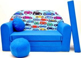 Canapeaua pat pentru copii cu masini albastre C21 +