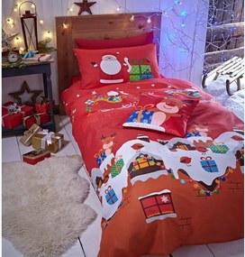 Lenjerie de pat cu model de Crăciun Catherine Lansfield Rudolf, 135 x 200 cm, roșu