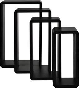 [en.casa]® Dulap de perete din 4 corpuri - set rafturi negru