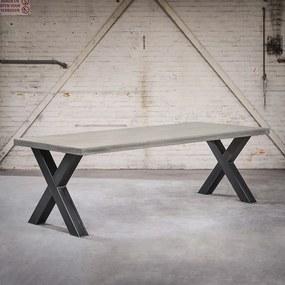 Masă industrială dreptunghiulară 180x100x6 aspect beton cu picioare X de oțel - Empire
