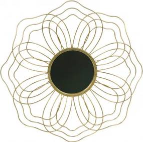 Oglinda rotunda cu rama din metal antique brass Handso, 3,5x50x50 cm