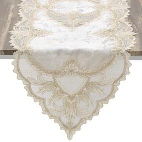 Napron textil cu dantela Belle Creme 140 cm