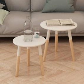 244734 vidaXL Set masă laterală 2 piese, lemn masiv de pin, alb