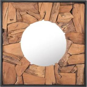 Oglinda de perete YECORA, lemn, maro, 70 x 70 x 5 cm