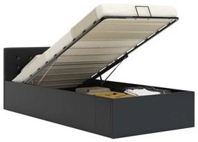 285511 vidaXL Cadru pat hidraulic, depozitare, negru, 100 x 200 cm, piele eco